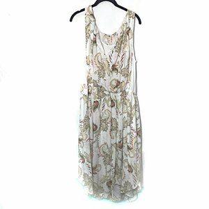 J. Jill Dress White Sleeveless Paisley Print Dress